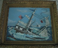 "WELSH AMERICAN SIGNED FOLK ART ""MOBY DICK PEQUOD BOAT"" GOLD FRAME"