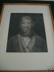 """MAN IN BLK & WHITE"""" GRACE WOOD HERRING AMER CA 1950-60 CUSTOM FRAME"