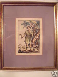 """SILVANO"" 19TH C ENGRAVING HAND COLORED PRINT 1 OF 3 SET"