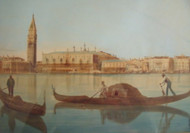 "WATERCOLOR PAINTING ""VENICE CANAL""  ORIGINAL GOLD FRAME CA 1890-1900 ETHEREAL"
