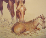 CHARLES HARGENS SIGNED HORSE AND FOAL WATERCOLOR NEW HOPE IMPRESSIONIST ORIG FR