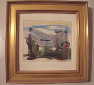 "ROBERT T. COOKE (PA 1943-) LISTED ""LAND & SKY""LANDSCAPE SERIES 1969 GOLD FRAME"