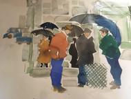 "RICHARD AHR 1929-2012 NEW YORK CITY ""SUBWAY ENTRANCE BROOKLYN"" WATERCOLOR 1998"