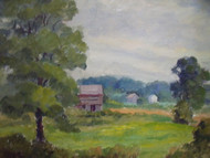 "HORTENSE BUDELL ""RED BARN FARMLAND"" OIL PAINTING NEW HOPE PA IMPRESSIONIST"