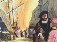 """Ferdinand Magellan/Explorer and Ships"" Illustration Custom Framed CA 1970 Gouache/Mixed Media"