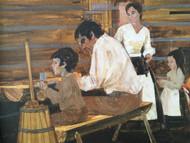 """""""Pioneer Family in Cabin"""" Illustration Painting Custom Framed CA 1970's Gouache"""