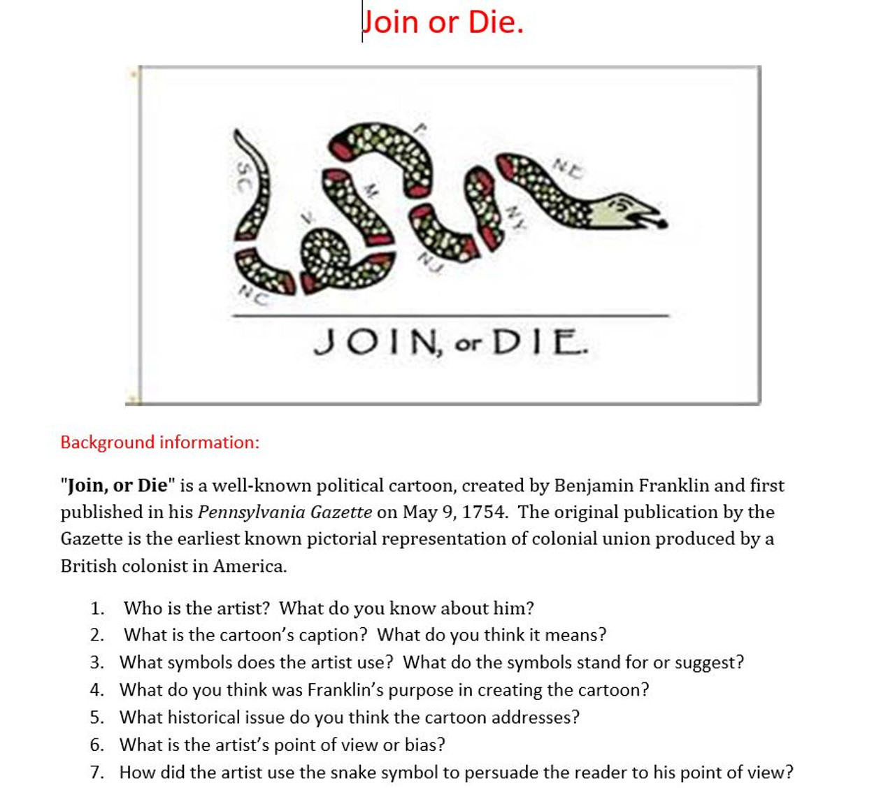 French and Indian War: American Revolution: Join or Die ...