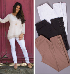 Full Length Button Detail Pant