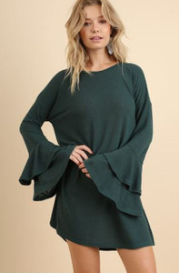 Layered Ruffled Bell Sleeve Dress/Tunic