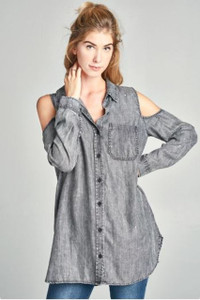 Tencel Button-Up Shirt w/Cold Shoulder