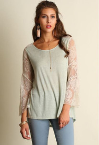 Sage Top w/ Ivory Lace Bell Sleeves