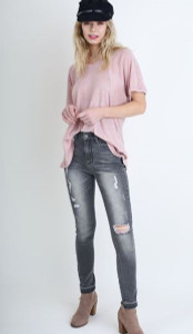 Distressed Grey Skinny Jean