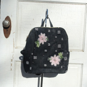 Black Distressed Denim Backpack