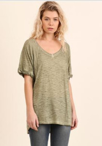 Army Green Washed Scoop Neck Tee