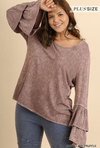 Mineral Washed Top w/Layered Ruffled Bell Sleeves (Plus)