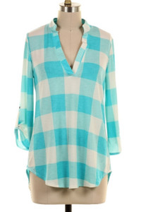 Checkered Roll-Tab Sleeve Blouse