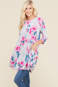 Floral Print Tunic with Pockets