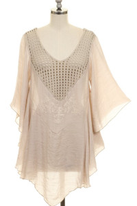 Loose Fit Embroidery Detail Crochet Tunic Top-Khaki