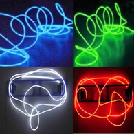 4 Pack - TDLTEK Neon Glowing Strobing Electroluminescent Wire /El Wire(Blue, Green, Red, White) + 3 Modes Battery Controllers