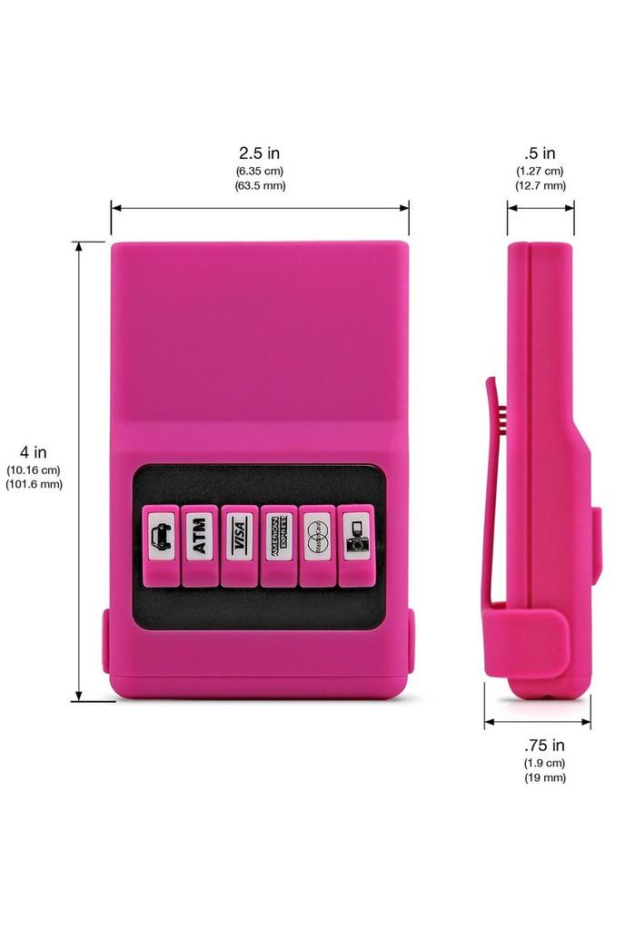 Hot Pink ACM®Wallet dimensions.