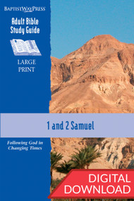 Digital large print Bible study on 1 & 2 Samuel. 13 lessons; PDF; 273 pages.