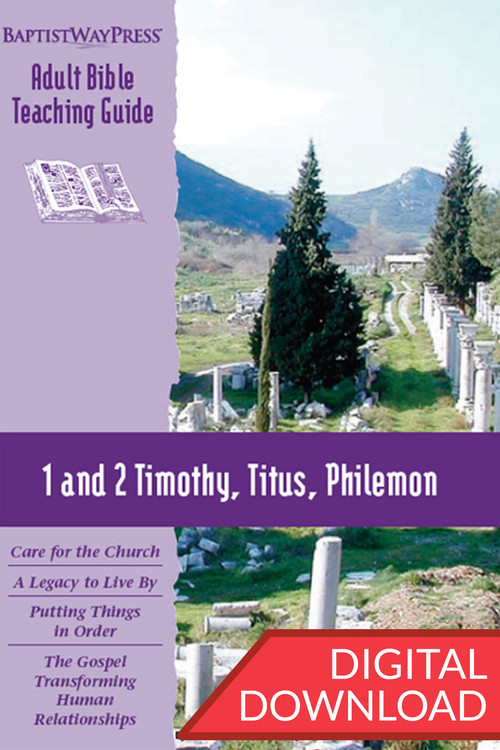 Digital teaching guide with Bible commentary and teaching plans for a Bible study 1 and 2 Timothy, Titus, and Philemon. 13 lessons; PDF; 136 pages.