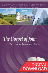 Digital large print Bible study on John that leads people to believe in Jesus and live. 12 lessons; PDF; 218 pages.