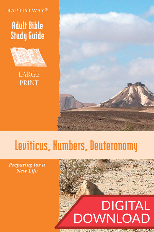 Digital Bible study of Leviticus, Numbers, and Deuteronomy in large print. 13 lessons; PDF; 246 pages.