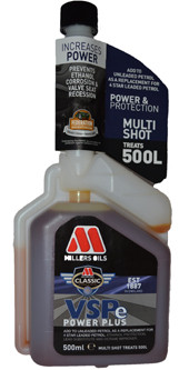 VSPe POWER PLUS MULTISHOT An ALL IN ONE petrol fuel treatment providing ethanol protection, lead replacement and an octane improver dependent on selected fuel quality.