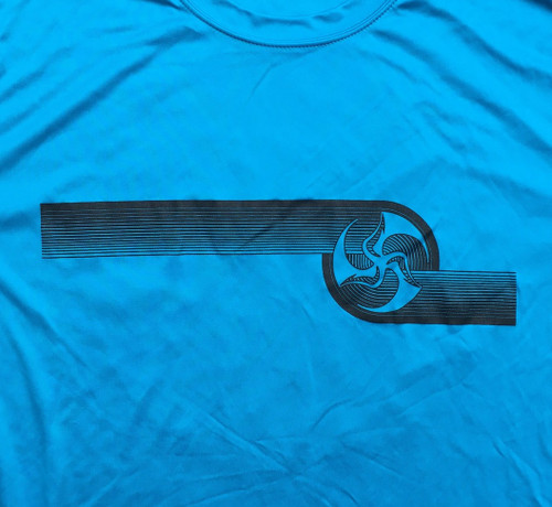 Atomic blue Huk Lab Dry Light Long Sleeve Tee front graphic