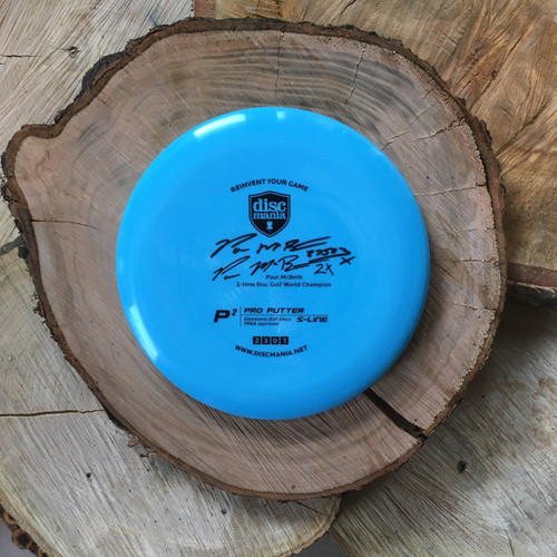 Discmania S-Line P2 Blue with black Paul McBeth stamp and autograph