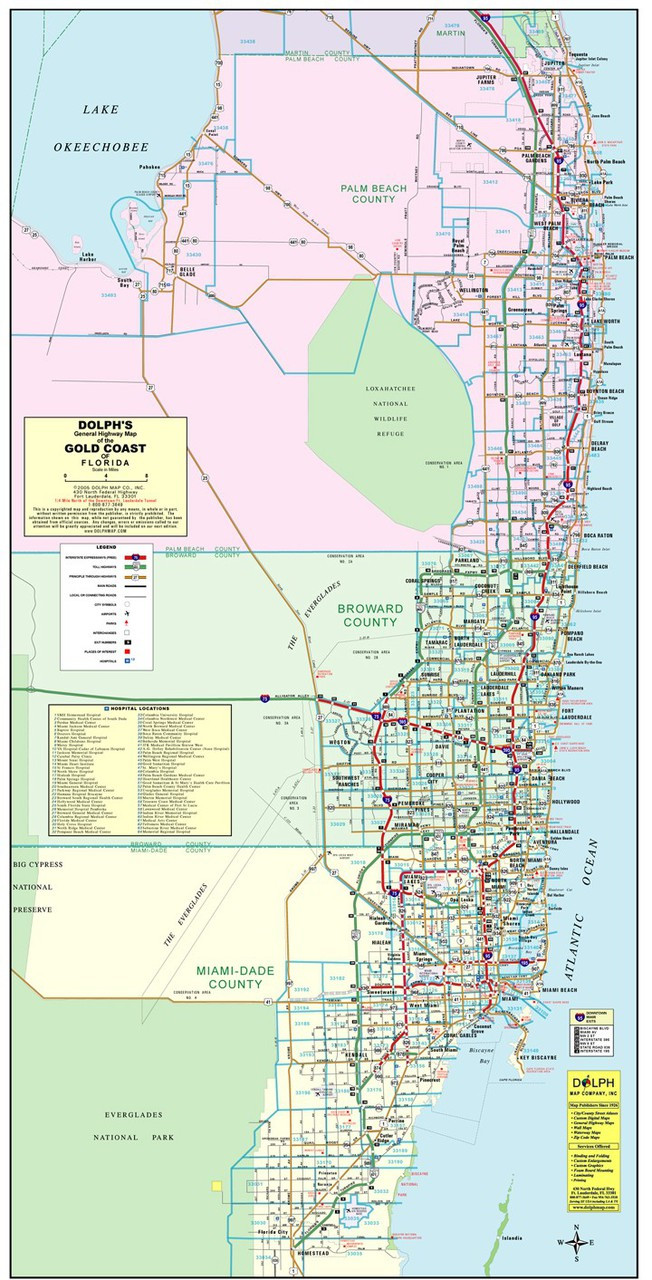 3 County Gold Coast General Highway Color With Zip Codes - Dolph Map LLC
