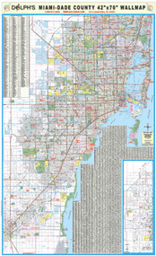 "Miami-Dade County, FL 42"" Wall Map Rail Mounted"