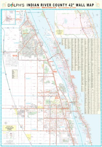 Indian River Florida Map.Indian River County Fl 42 Wall Map Rail Mounted Dolph Map Llc