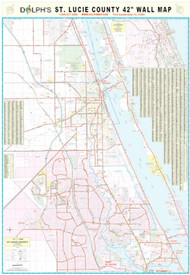 "St. Lucie County, FL 42"" Wall Map Rail Mounted"