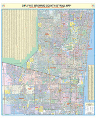 "Broward County, FL 60"" Wall Map Paper Only"