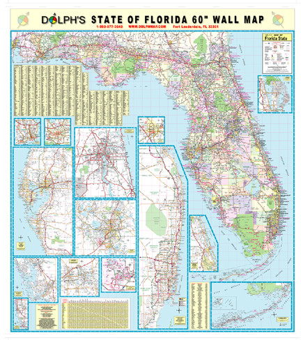 Florida State 60 Wall Map Rail Mounted Dolph Map Llc
