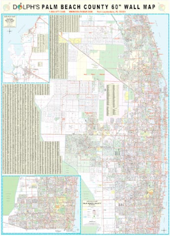Map Of Palm Beach County Florida.Palm Beach County Fl 60 Wall Map Paper Only Dolph Map Llc