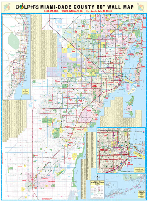 """miami-dade county, fl 60"""" wall map rail mounted - dolph"""