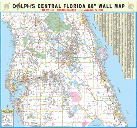 Map Central Florida.Central Florida 60 Wall Map Rail Mounted Dolph Map Llc