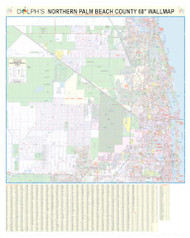 "North Palm Beach County, FL 60"" Wall Map Rail Mounted"
