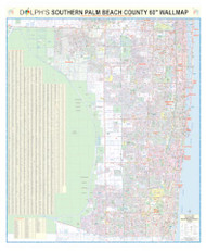 "South Palm Beach County, FL 60"" Wall Map Paper Only"