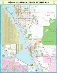 "Sarasota County, FL 60"" Wall Map Paper Only"