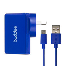 Micro-USB Cable and USB Wall Charger 2.4A - Blue