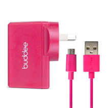 Micro-USB Cable and USB Wall Charger 2.4A - Pink
