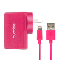 Lightning Cable and USB Wall Charger 2.4A - Pink