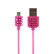 Micro-USB Cable Bling - Pink
