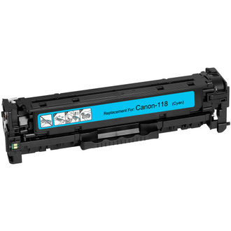 Remanufactured replacement for Canon 118 (2661B002AA) cyan laser toner cartridge