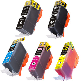 5 Pack - Compatible replacement for Canon PGi-225 and Cli-226 series ink cartridges