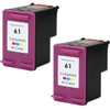Twin Pack - Remanufactured replacement for HP 61 (CH562WN) color ink cartridges